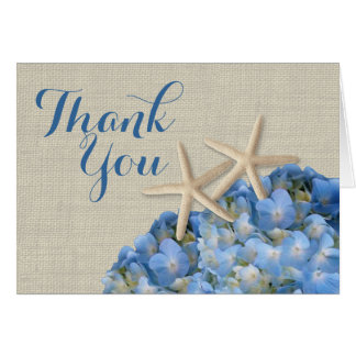 Starfish Blue Hydrangeas Thank You Card