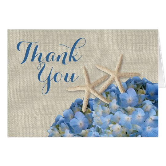 Starfish Blue Hydrangeas Thank You Card