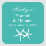 Starfish Blue Personalised Favour Labels Square Sticker