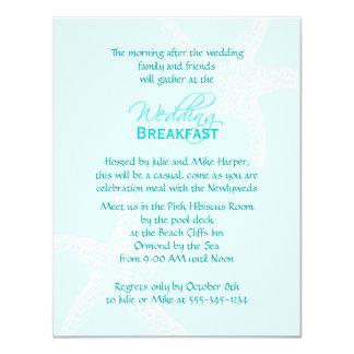 Starfish Blue Wedding Breakfast Card