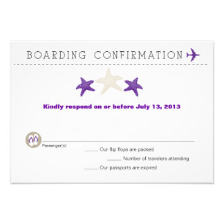 Starfish Boarding Pass RSVP Card