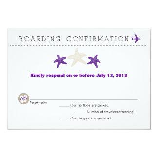 Starfish Boarding Pass RSVP Card 9 Cm X 13 Cm Invitation Card