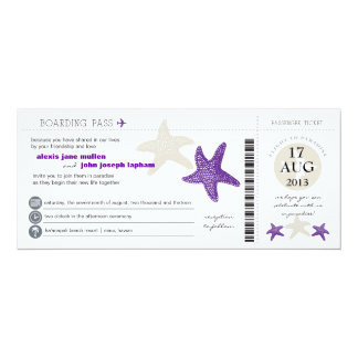 Starfish Boarding Pass Wedding 10 Cm X 24 Cm Invitation Card