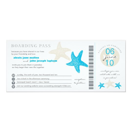Starfish Boarding Pass | Wedding Card