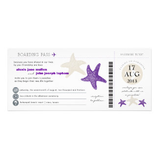 Starfish Boarding Pass Wedding Personalized Announcements