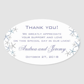 Starfish Border Large Custom Message Wedding Label
