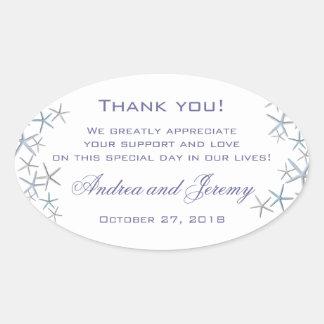 Starfish Border Large Custom Message Wedding Label Oval Sticker