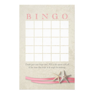 Starfish Bridal Shower Bingo Customised Stationery