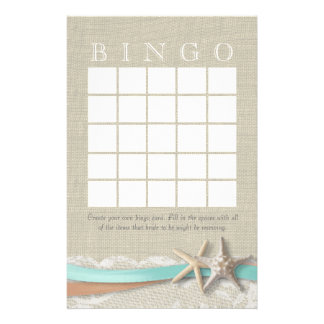 Starfish Bridal Shower Bingo Customized Stationery
