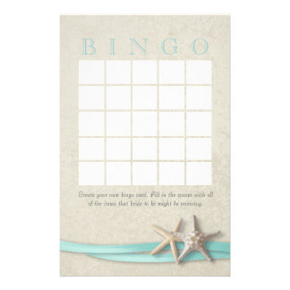 Starfish Bridal Shower Bingo Stationery