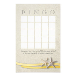 Starfish Bridal Shower Bingo Stationery Design