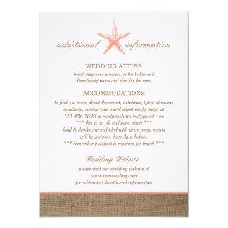 Starfish Burlap Additional Info Wedding Cards