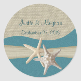 Starfish & Burlap Teal Beach Stickers
