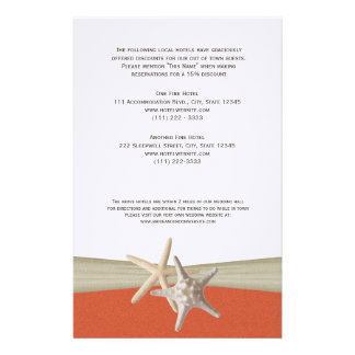 Starfish Coral Beach Information Page Personalized Stationery