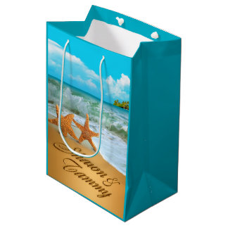 Starfish Couple ASK ME TO PUT NAMES IN SAND Medium Gift Bag