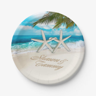 Starfish Couple ASK TO HAVE YOUR NAMES PUT IN SAND 7 Inch Paper Plate