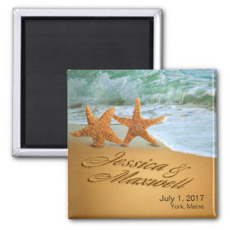 Starfish Couple ASK TO HAVE YOUR NAMES PUT IN SAND Square Magnet