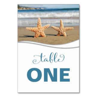 Starfish Couple Beach Table Number Card