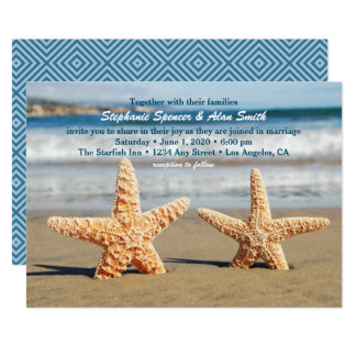 Starfish Couple Beach Wedding Invitation