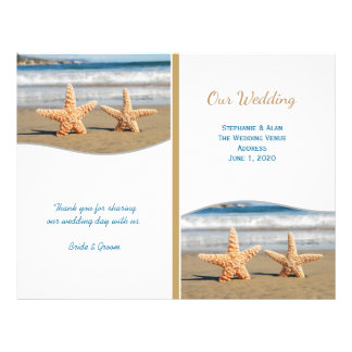 Starfish Couple Beach Wedding Programs 21.5 Cm X 28 Cm Flyer