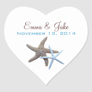 Starfish Couple Custom Heart-Shaped Label