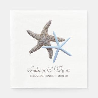 Starfish Couple Custom Rehearsal Dinner Napkins Disposable Serviette