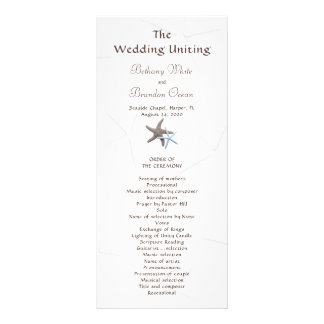 Starfish Couple Flat Double Sided Wedding Program Rack Card