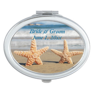 Starfish Couple on the Beach Compact Mirror