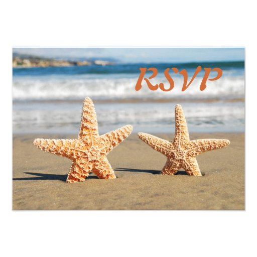 Starfish Couple on the Beach RSVP Card Personalized Invite