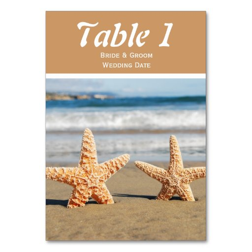 Starfish Couple on the Beach Table Number Cards Table Card