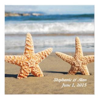 Starfish Couple On The Beach Wedding Invitation