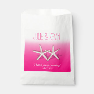 Starfish Couple On The Beach Wedding ombre fuchsia Favour Bag