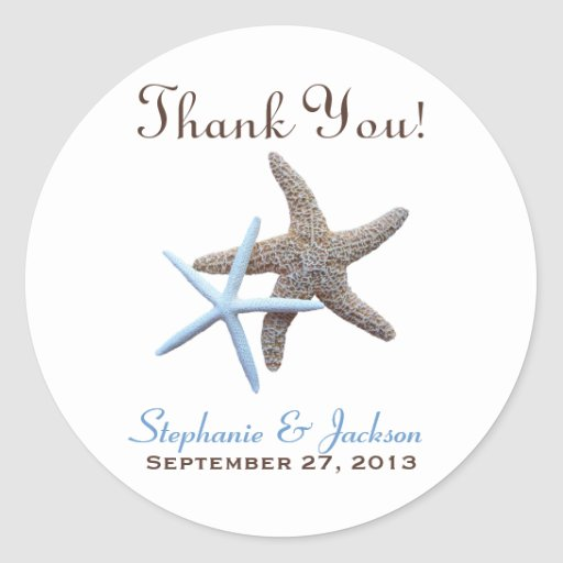 Starfish Couple Round Thank You Favor Labels Stickers