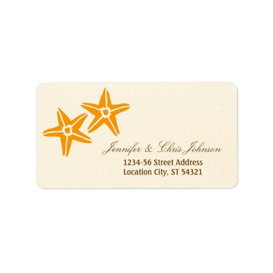Starfish Couple Summer Beach Wedding Address Label