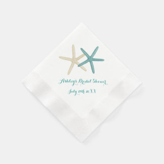 Starfish Couple Teal and White Cocktail Napkins Paper Serviettes