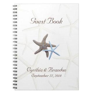 Starfish Couple Wedding Guestbook Spiral Notebooks