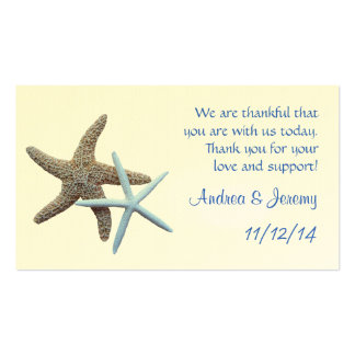 Starfish Couple Wedding Reception Favor Tags Business Cards