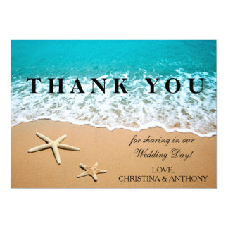 Starfish Destination Beach Wedding Thank You Note 11 Cm X 16 Cm Invitation Card