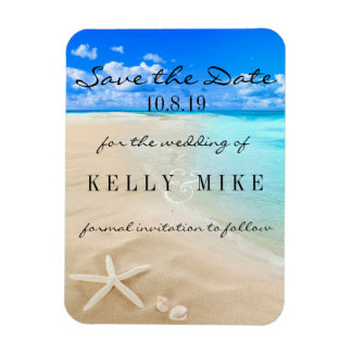 Starfish Destination Wedding Save the Date Rectangular Photo Magnet