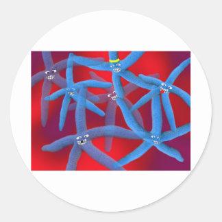 starfish disco round sticker