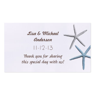 Starfish Favour Thank You Cards, Medium Size Pack Of Standard Business Cards