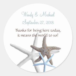 Starfish Gathering Round Wedding Favor Labels Round Sticker