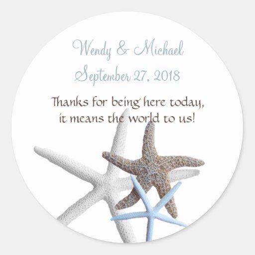 Starfish Gathering Round Wedding Favor Labels Sticker