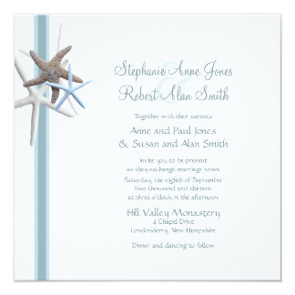 Starfish Gathering Square Wedding Invitation