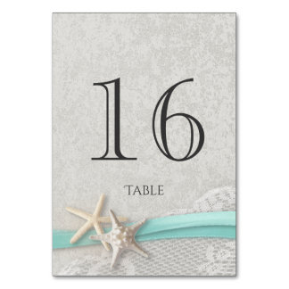 Starfish Grey and Aqua Ribbon Table Number Card