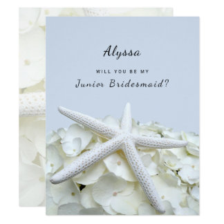 Starfish Hydrangea Be My Junior Bridesmaid Cards