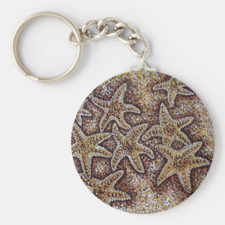 starfish in the sand basic round button key ring