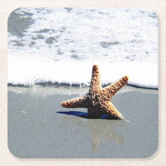 Starfish in the Surf Square Paper Coaster