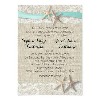 Starfish Lace and Ribbon 13 Cm X 18 Cm Invitation Card