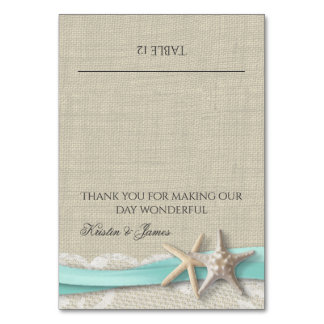 Starfish Lace and Ribbon Place Card